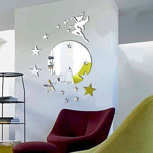 """walplus wandspiegel fliegende fee tinker bell mit sterne motiv rund - Walplus Wandspiegel """"Fliegende Fee Tinker Bell"""", mit Sterne-Motiv, rund"""