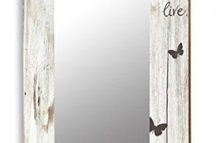levandeo Spiegel 50x70cm Wandspiegel Flurspiegel aus Holz weiss Vintage Shabby 310x205 - levandeo Spiegel 50x70cm Wandspiegel Flurspiegel aus Holz weiß Vintage Shabby chic gewischt - Motiv Schriftzug Love mit Schmetterlingen Landhaus Stil