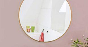 AUFHELLEN Rund Spiegel mit Kupfer Metallrahmen HD Wandspiegel aus Glas 310x165 - AUFHELLEN Rund Spiegel mit Kupfer Metallrahmen HD Wandspiegel aus Glas 50cm für Badzimmer, Ankleidezimmer oder Wohnzimmer Schminkspiegel (Kupfer, 50cm)