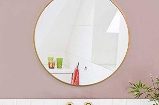 AUFHELLEN Rund Spiegel mit Kupfer Metallrahmen HD Wandspiegel aus Glas 310x205 - AUFHELLEN Rund Spiegel mit Kupfer Metallrahmen HD Wandspiegel aus Glas 50cm für Badzimmer, Ankleidezimmer oder Wohnzimmer Schminkspiegel (Kupfer, 50cm)