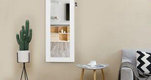 Songmics Schmuckschrank und Wandspiegel zwei in einem weiss 36 x 310x165 - Songmics Schmuckschrank und Wandspiegel zwei in einem, weiß, 36 x 120 x 9,5 cm