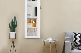 Songmics Schmuckschrank und Wandspiegel zwei in einem weiss 36 x 310x205 - Songmics Schmuckschrank und Wandspiegel zwei in einem, weiß, 36 x 120 x 9,5 cm